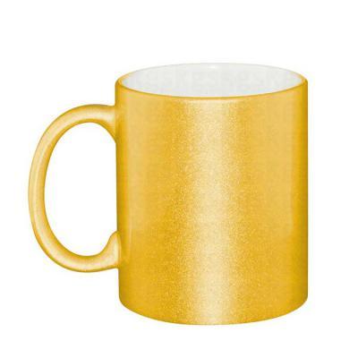 Brindes de Luxo - Caneca de cerâmica perolada dourada - 325 ml Personalização por sublimação. Dimensões: 95x80mm