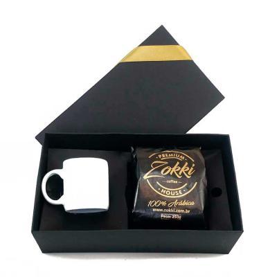 Brindes de Luxo - Kit café gourmet de 250 g com caneca de cerâmica de 100 ml com caixa para presente.  Personalização na caixa e na caneca.