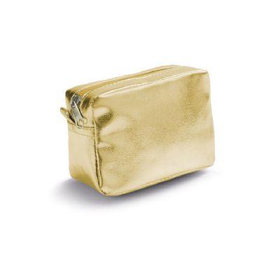 Brindes de Luxo - Necessaire feminina dourada em PVC brilhante. Tamanho 130 x 90 x 60 mm. Personalizaчуo em silk