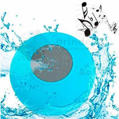 Brinderia Brindes - Caixinha de som Bluetooth resistente à água com função viva-voz com um som de alta qualidade.  - Dimensões: 8 (diâmetro) x 5 cm (altura)  - Peso aprox...