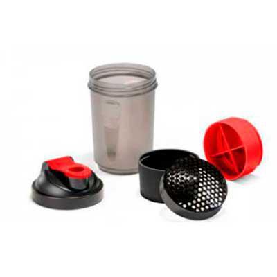 Brinderia Brindes - Shaker. PP e PE. Com 2 compartimentos para guardar suplementos adicionais (320 ml e 150 ml). Com escala de medição até 500 ml/16 ft oz. Capacidade: 63...