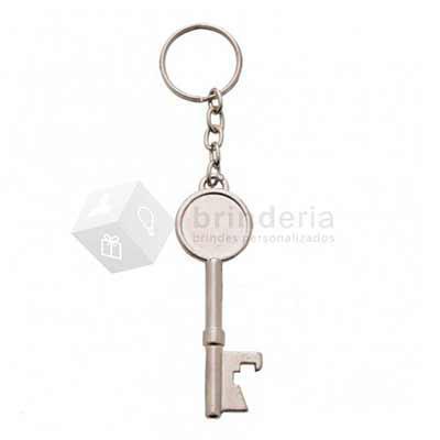 Brinderia Brindes - Chaveiro abridor metal em formato chave, frente e verso liso.