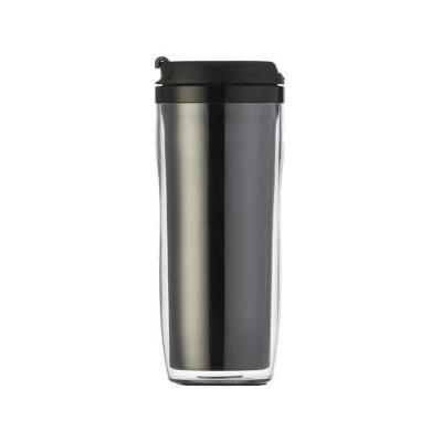 """MR Cooler - Copo plástico 350ml porta foto. Possui tampa plástica com """"alavanca"""" para abrir/fechar compartimento para beber. Copo preto em pvc, basta rosqueá-lo p..."""
