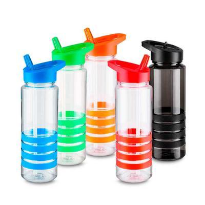 MR Cooler - Garrafa plástica 700 ml com apoio de mão emborrachado e canudo. Plástico utilizado AS (estireno de acrilonitrilo).