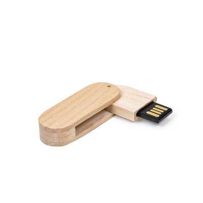 MR Cooler - Pen drive ecológico 4GB de bambu com tampa de imã, frente e verso lisos.