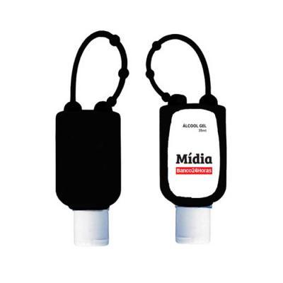 New Life Brindes e Confecções - Porta álcool em gel personalizado produzido em silicone flexível. Possui 4 níveis de ajustes ideal para pendurar em bolsas ou mochilas.  Acompanha 1 f...