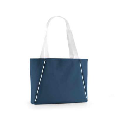 Promozionale Brindes - Sacola de praia 300D. Com bolso interior e Alças em webbing de 70 cm. 450 x 300 x 80 mm. Disponível nas cores azul, vermelha e branca.