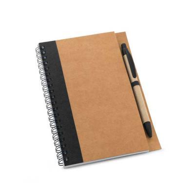 Promozionale Brindes - Caderno de anotações em papel kraft. Capa dura. Com 60 folhas não pautadas de papel reciclado. Incluso esferográfica. 130 x 177 mm. Disponível com det...
