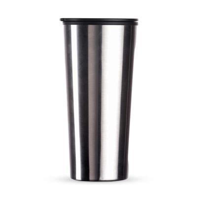 Promozionale Brindes - Copo em aço inox com tampa plástica 600 ml. Disponível nas cores prata, preto, branco e grafite.