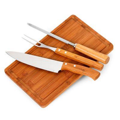 Promozionale Brindes - Kit churrasco 4 peças de bambu e inox
