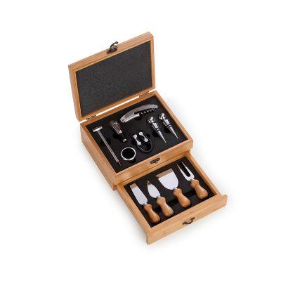 Promozionale Brindes - Kit para vinho e queijo em caixa de bambu contendo: 02 tamp�es, 01 direcionador, 01 corta gotas, 01 abridor saca-rolhas, 01 corta lacre e 01 term�metr...