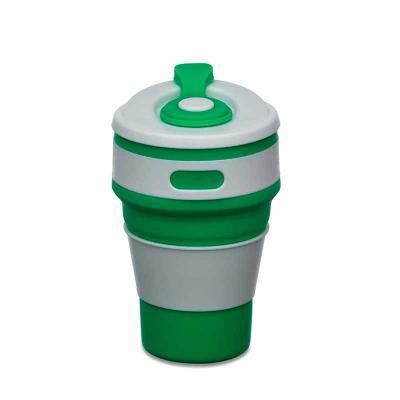 """Vintore Brindes Especiais - Copo retrátil 350ml de silicone, livre de BPA. Tampa plástica de encaixe com abertura para o bocal, acompanha """"luva"""" plástica branca, evitando queimar..."""