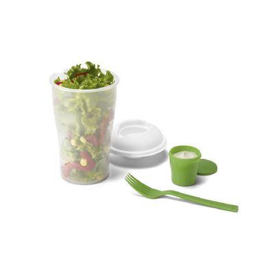 Vintore Brindes Especiais - Copo para salada. PP. Com garfo e molheira. Capacidade: 800 ml.