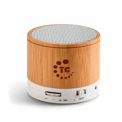 Vintore Brindes Especiais - Caixa de som com microfone. Bambu. Com transmissão por bluetooth, ligação stereo 3,5 mm e leitor de cartões TF. Autonomia até 3h. Capacidade: 300mAh....