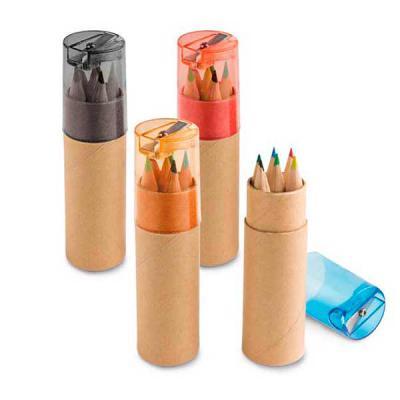 Brintec Brindes Promocionais - Caixa de cartão com 6 mini lápis de cor