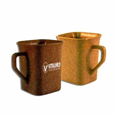 Brintec Brindes Promocionais - Caneca Quadrada Ecológica , feita com 50% de fibra de madeira ou coco, personalizável