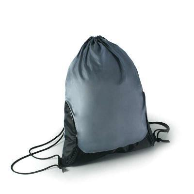 Brintec Brindes Promocionais - Mochila saco em nylon 70 emborrachado com alças em cordão, detalhe em vivo brilhante