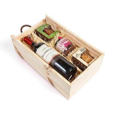 Amélio Presentes - Kit vinho com aperitivos gourmet na caixa de madeira