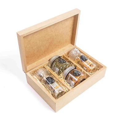 Amélio Presentes - Kit com 2 temperos especiais gourmet e 2 moedores em caixa de madeira