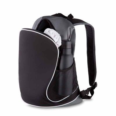 Amélio Presentes - Mochila em nylon, dois bolsos laterais em malha, bolso central, alça de ombro e mão, gravação frontal.