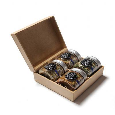 Amélio Presentes - Kit com 4 temperos especiais gourmet com caixa de madeira