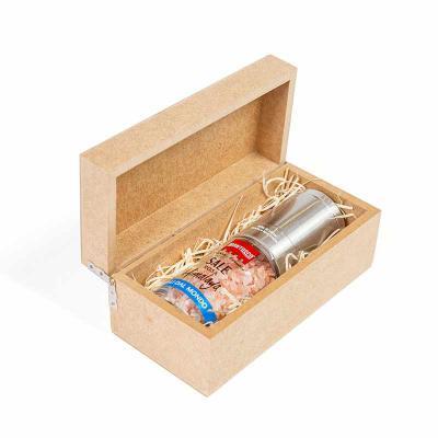 Amélio Presentes - Tempero gourmet com moedor em caixa de madeira
