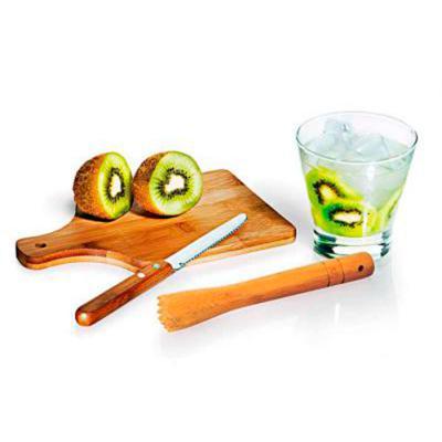 Amélio Presentes - Kit Caipirinha em Bambu - 4 peças