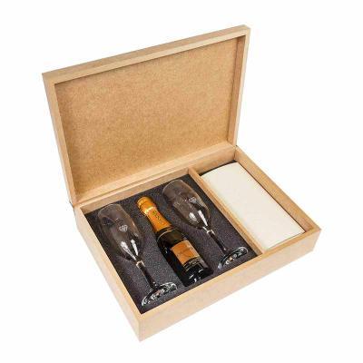 Amélio Presentes - Kit com espumante na caixa de MDF