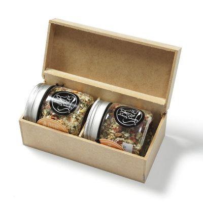 Amélio Presentes - Kit Gourmet com temperos especiais com caixa de madeira (vários sabores)