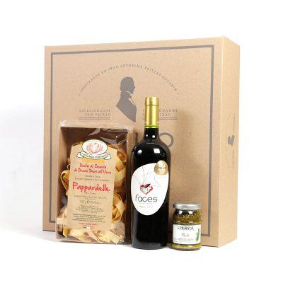Amélio Presentes - Kit Gourmet com massa especial italiana, molho pesto e vinho tinto