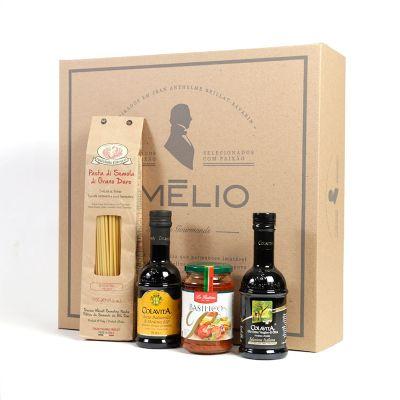 Amélio Presentes - Kit Gourmet com massa especial italiana, molho vermelho, azeite extra virgem e vinagre balsâmico