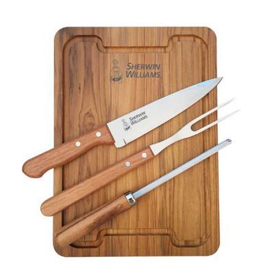 Royal Laser - Kit churrasco com garfo e faca Tramontina, chaira (afiador) e tábua para churrasco. Gravação da logo a laser na tábua e na faca. Acompanha caixa para...