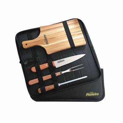 """Royal Laser - Estojo de couro sintético com faca 8"""", garfo trinchante, chaira e tábua de corte. Embalagem: estojo em couro sintético"""