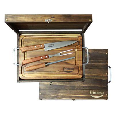 Royal Laser - Kit churrasco personalizado com 4 peças e estojo de madeira