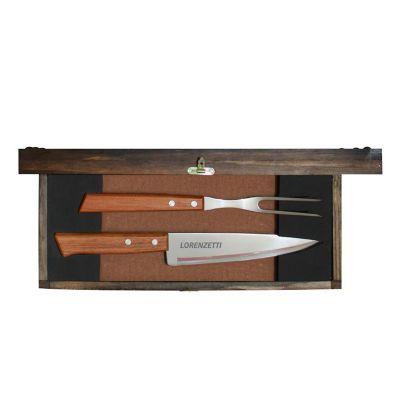 Royal Laser - Kit churrasco 02 peças em estojo de madeira envelhecida