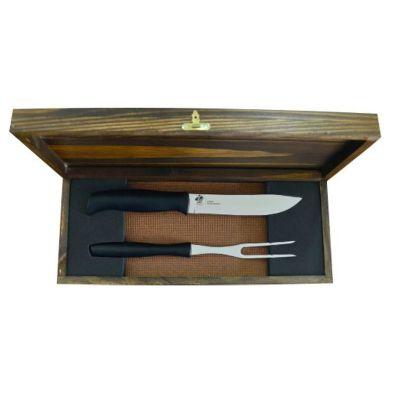 Royal Laser - Kit churrasco com 02 peças e estojo de madeira