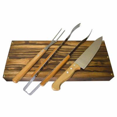Royal Laser - Kit churrasco Tramontina em estojo de madeira envelhecida