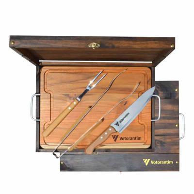 Royal Laser - Kit churrasco Tramontina em estojo e madeira envelhecida com tábua