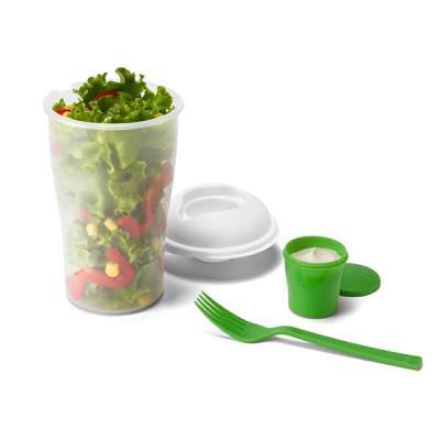 Choque Promocional - Copo para salada em plástico, com garfo e molheira, capacidade 850 ml, ø11 x 19cm, gravação silk