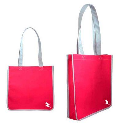 Choque Promocional - Sacola promocional com fole lateral, alça de mão no próprio material, acabamento externo no próprio material