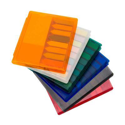 MSN Brindes - Bloco de anotações com sticky notes coloridos, estojo de plástico. Embalagem, caixinha branca. Tamanho total (CxL):11,0 cm x 13,2 cm Peso:127 g