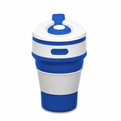 """MSN Brindes - Copo retrátil 350ml de silicone, livre de BPA. Tampa plástica de encaixe com abertura para o bocal, acompanha """"luva"""" plástica branca, evitando queimar..."""