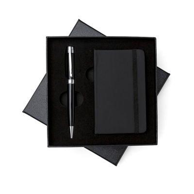 MSN Brindes - Kit executivo 2 peças em estojo de papelão com tampa e parte interna revestida de espuma. Contém: caneta metal preta com anel e detalhes em prata, cad...