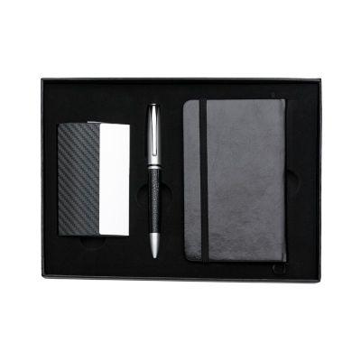 MSN Brindes - Kit executivo 3 peças em estojo de papelão com tampa e parte interna revestida de espuma. Contém: porta cartão de couro sintético texturizado com deta...