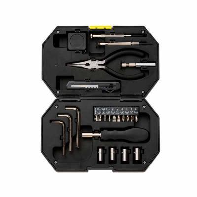 MSN Brindes - Kit ferramenta 24 peças com lanterna acoplada no estojo. Possui: chave de Fenda, chave Philips, chave que alonga ferramenta auxiliar, alicate, trena d...