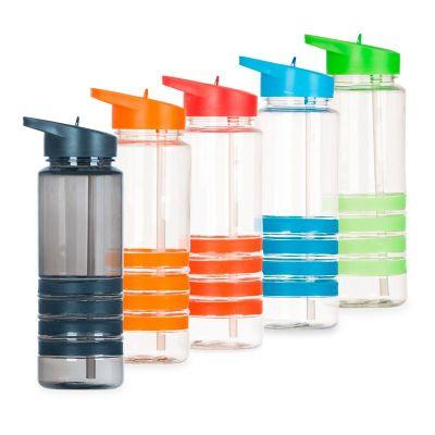 MSN Brindes - Squeeze plástico 700ml com bico de canudo. Squeeze transparente com 4 linhas inferiores emborrachadas coloridas; tampa rosqueável colorida com uma esp...