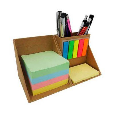 MSN Brindes - Bloco de anotações ecológico com stick notes (aproximadamente 50), marcadores de página coloridos (aproximadamente 25) e porta canetas. Bloco nas core...