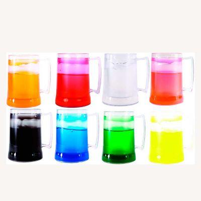 MSN Brindes - Caneca de 500 ml para chopp, de acrílico transparente, com gel. Obs: Congelar de boca para baixo, no máximo 48 horas (a cada congelamento). Nas cores...