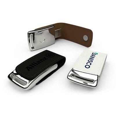 MSN Brindes - Pen drive de metal e couro. Pen drive confeccionado de metal espelhado e couro sintético nas cores marrom e preto. Capacidade: 4 gb e 8 gb. Medidas: a...