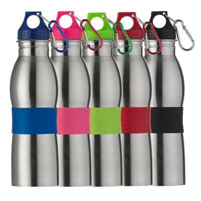 MSN Brindes - Squeeze 600ml de alumínio com detalhes coloridos e emborrachado. Possui tampa rosqueável em relevo e mosquetão colorido, parte central com borracha co...